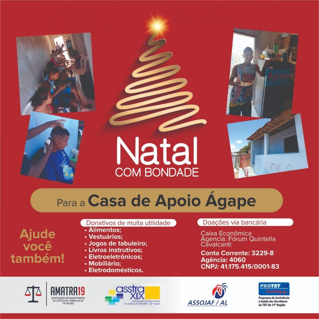 AMATRA 19, ASSTRA 19, ASSOJAF e a PRO-TRT 19 arrecadam doações para a Casa de Apoio Ágape