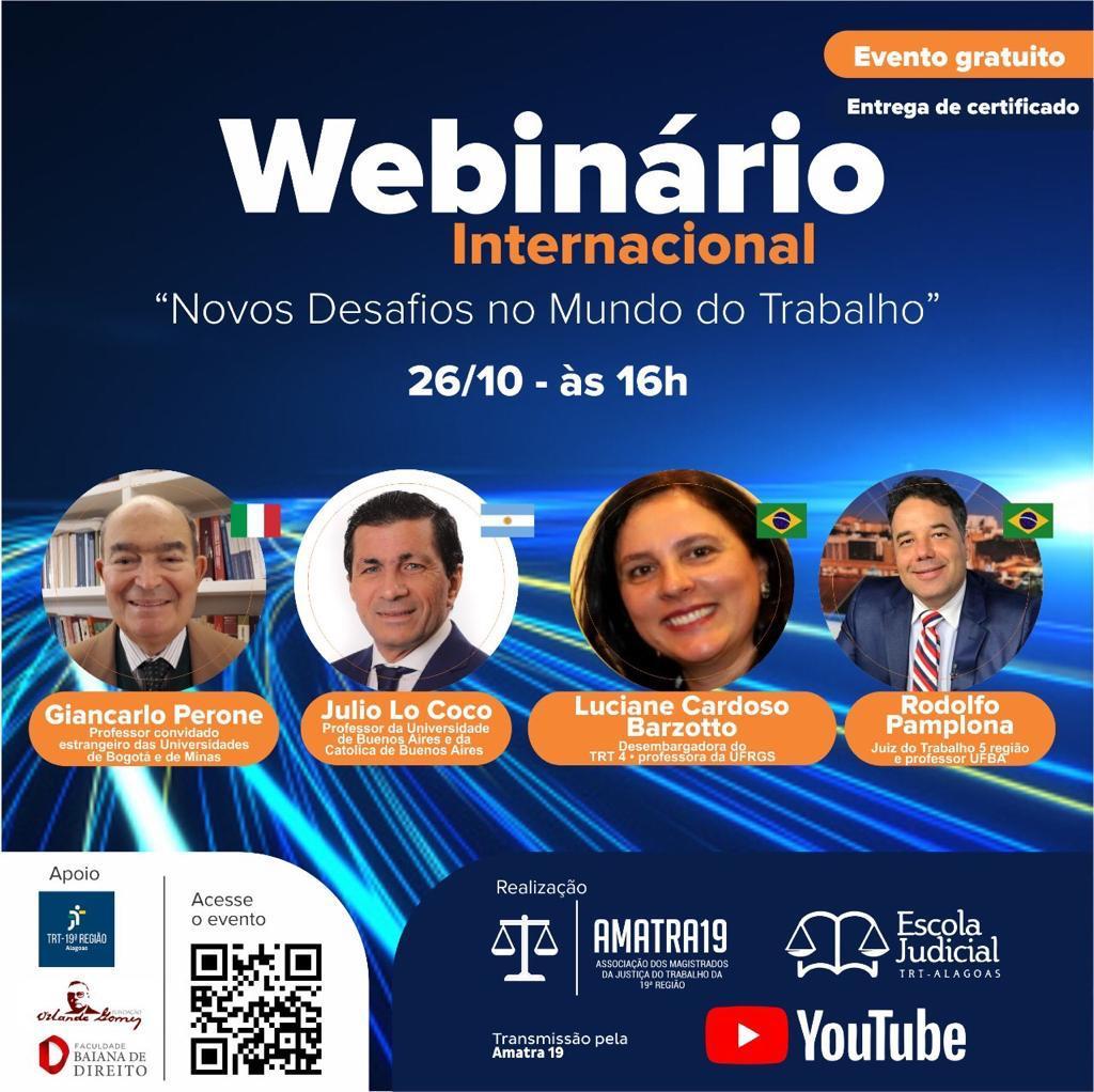 """Amatra 19 e Ejud 19 promovem webinário internacional sobre os """"Novos Desafios no Mundo do Trabalho"""""""